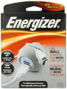 Energizer PC-1WACMC 5-Watt Premium Single-Port USB Wall Charger with Cable Storage for MicroUSB Devices
