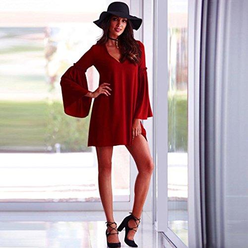 vestidos de mujer,Switchali MujerModaverano casual algodón Manga larga Mini vestidos de fiesta para bodas ropa mujer en oferta Rojo