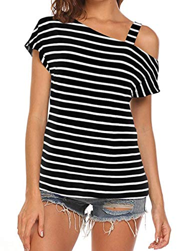 Cyanstyle Women's Short Sleeve Cold Shoulder Casual Tshirt Blouse Sexy Tunic Top