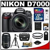 Nikon D7000 Digital SLR Camera & 18-105mm VR DX AF-S Zoom Lens with 55-300mm VR Lens + 32GB Card + Case + Tripod + Filters + Remote + Accessory Kit