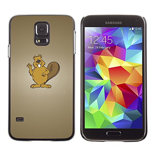 amsung Galaxy S5 beaver brown animal forest white teeth art / Slim Black Plastic Case Cover Shell Armor