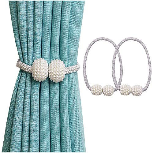 Magnetic Pearl - stylish14 Curtain Magnetic Tiebacks Fashion Home Décor Window Curtain Tiebacks Strong Magnet Pearls Ball Strap Holdbacks(Grey)