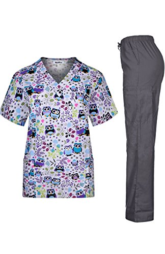MedPro Women's Medical Scrub Set with Printed V-Neck Top and Cargo Pants White Purple XL (Pattern Casual Cartoon)