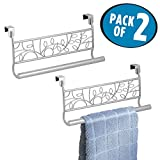 #7: mDesign Decorative Kitchen Over-the-Cabinet Towel Bars - hang on inside or outside of doors, for Hand, Dish, Tea Towels - 9