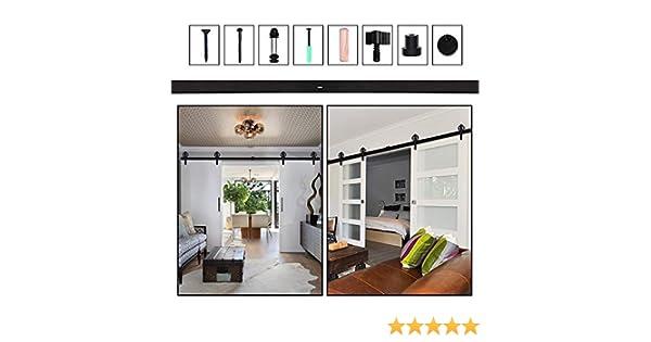 384CM/12.6FT Herraje para Puerta Corredera Kit de Accesorios, Guia Riel Puertas Correderas, Rueda grande Forma J: Amazon.es: Bricolaje y herramientas