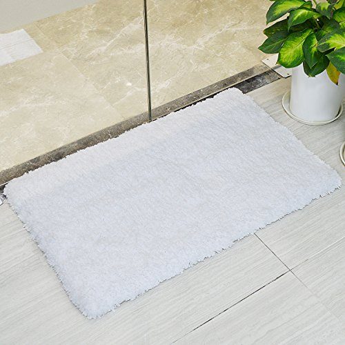 LOCHAS Soft Shaggy Bath Mat Bathroom Rug Anti-slip Floor Mats Absorbs Water, 30 x 18inch, White (That Rugs Bathroom Water Absorb)