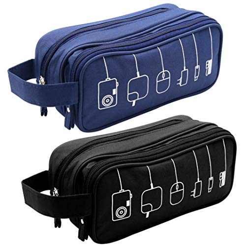 - Honsky Gadget Organizer Bag: Universal Tech Travel Organizer, Electronics Organizer Storage Case Pouch for Cables Cords Chargers Power Bricks USB Computer Laptop Accessories, 2 Packs, Black/Blue