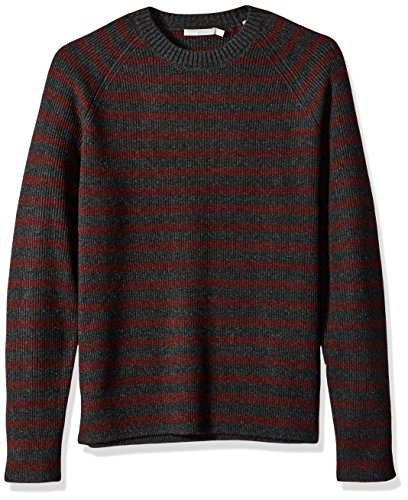 Vince Men's Raglan Sleeve Striped Ribbed Crew Neck Sweater, Carbon/Heather Burgundy, ()