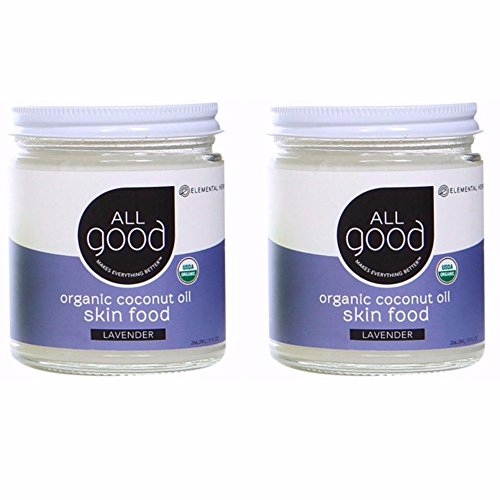 All Good Organic Coconut Oil Skin Food w/Lavender - Natural Moisturizing Skin Care & Massage Oil - Non GMO - Vegan - 7.5 oz (Lavender)(2-Pack)