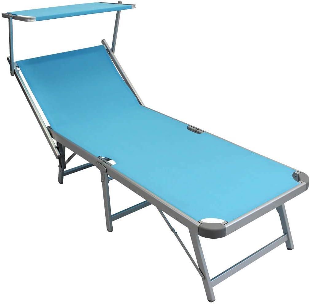 Lettino da Campeggio Sdraio Pieghevole Azzurro con TETTUCCIO per Spiaggia Mare Piscina Giardino Esterno Milani Home s.r.l.s