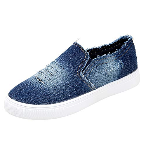 (Londony ♪✿ Women's Fashion Distressed Denim Casual Comfortable Shoes Slip on Sneakers)