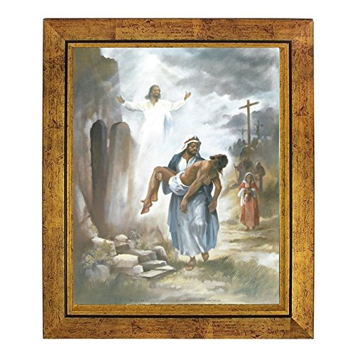 And He Rose: The Resurrection of Black Jesus by Vincent Barzoni (10x8 inches - Framed Art Print - Gold Frame) (Print Barzoni)