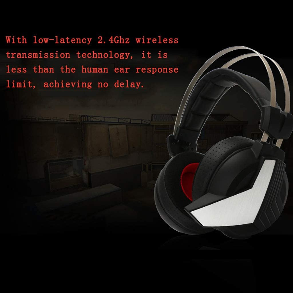 Black Xiaokeai Headsets with Built-in Mic Headset Gaming Headset with McAfee Virtual 7.1 Channel Stereo Esports LED Light Effect Wireless Gaming Headset