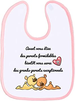 Bavoir Tendresse Humour Papi Et Mamie Grand Parent Message Tendre Bavette Fille Et Garçon Super Absorbante Très Large Rose