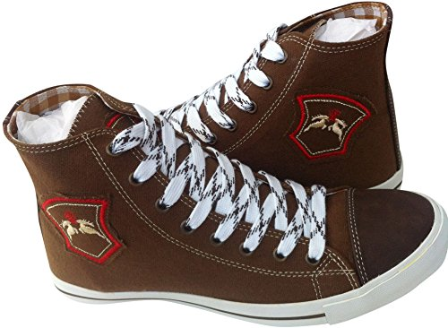 Sneaker Trachten Schuhe Herren Leinen/Canvas Braun 43