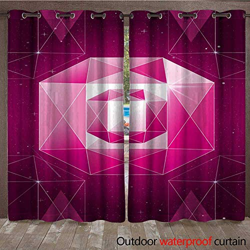 Outdoor Curtain Panel for Patio Vector Illustration of Trendy Cosmic Crystal Geometric Shapes Pink Color Polygon Diamond or Crystal Poster Waterproof CurtainW120 x L96 ()