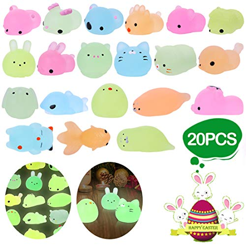 LEEHUR 2nd Generation 20pcs Mochi Glitter Squishies Animals Toys Kids Party Favor Glow in The Darkness Squeeze Squishy Kawaii Sensory Stress Anxiety Reliever Easter Gifts Easter Basket Stuffers Filler