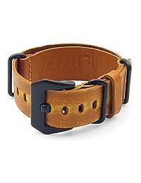 StrapsCo 18mm Tan Ultra Distressed Leather G10 Nato Zulu Watch Strap w/ Black Pre-V Buckle