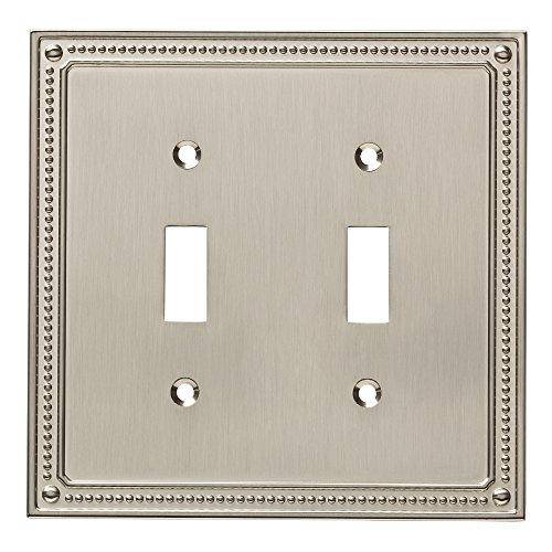 Double Outlet Switch - Franklin Brass W35061-SN-C Classic Beaded Double Switch Wall Plate/Switch Plate/Cover, Satin Nickel