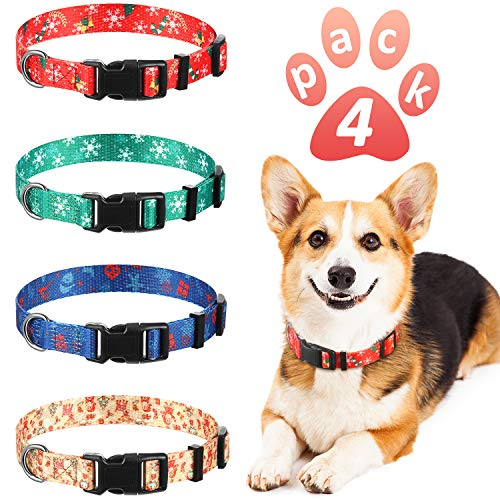 Frienda 4 Pieces Christmas Dog Collar Holiday Dog Collars Adjustable Pet Collar with Quick Release Buckle 14-20 Inches…