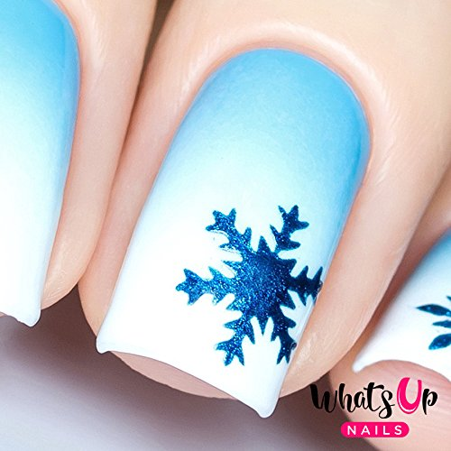 Whats Up Nails - Silver Jolly Snowflake Vinyl Stencils for Christmas Nail Art Design (1 Sheet, 20 Stencils)