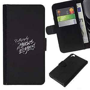 All Phone Most Case / Oferta Especial Cáscara Funda de cuero Monedero Cubierta de proteccion Caso / Wallet Case for HTC Desire 820 // Music Eyes