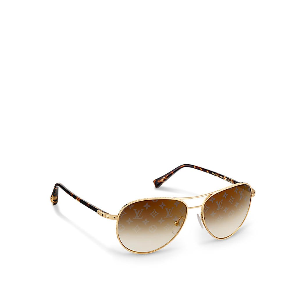 Louis VUITTON Conspiration Pilote Oro gafas de sol z0164u ...