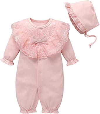 US Newborn Infant Baby Girl Long Sleeve Lace Ruffles Romper Jumpsuit+Hat Outfits