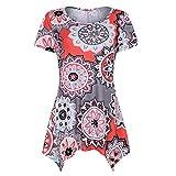 BXzhiri Tops for Women Short Sleeve Swing Tunic Summer Floral Flare Tee Blouse Shirt Orange
