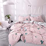 Cactus Print Kids Duvet Cover Set Twin Pink 100% Cotton Striped Children Duvet Cover and 2 Pillow Shams 3 Piece Reversible Bedding Set Twin for Girls