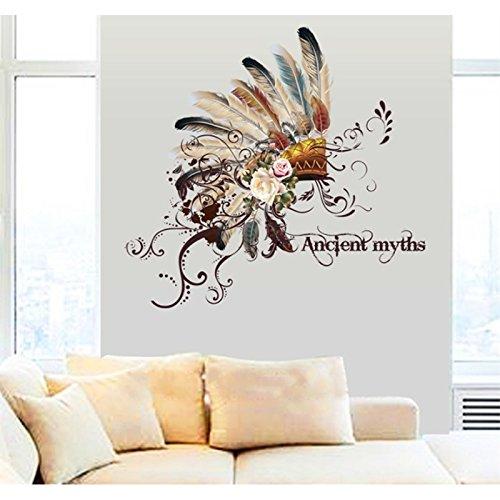 Showling Stickers Muraux Couvre-chef Indien Rétro Autocollant Apposé Pour La Décoration Autocollant D'art