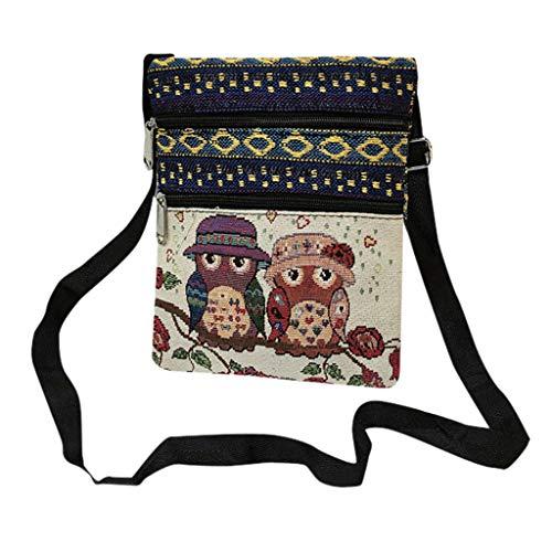 ♛TIANMI Bag Ladies Canvas Bag Fashion Messenger Bag Owl Print Bag Casual Shoulder Bag