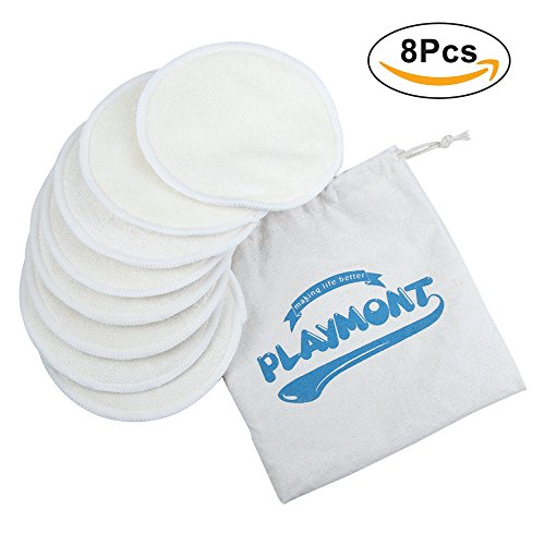 Nursing Pads Washable and Reusable Breast Breastfeeding Bra Pads by Playmont (8PCs, 4 - Pads Washable Bra