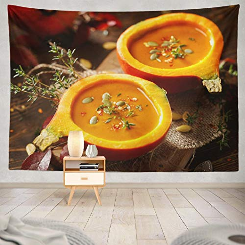 Hdmly Yellow Tapestry Wall Hanging Decor, Decorative Wall Tapestry Pumpkin Soup Pumpkins Veggie Fall Squash 60x80 Tapestry Wall Art for Men Kids Home Decor Bedroom Living Room Dorm Boys Tapestry ()
