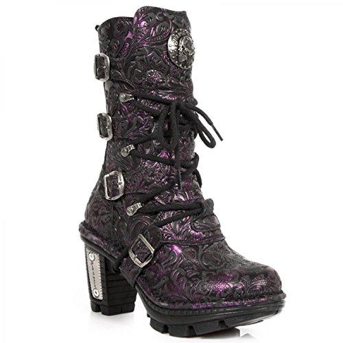 New Rock Boots M.neotr005-c29 Gotico Hardrock Punk Damen Stiefel Lila