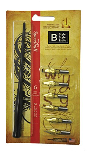 Speedball Lettering & Drawing Round Pen Nibs B Style assorted,Multi,set of 6