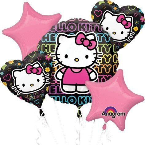 (Hello Kitty Tween Girl Balloon Birthday Bouquet Hearts Black Pink (5) Piece Set)