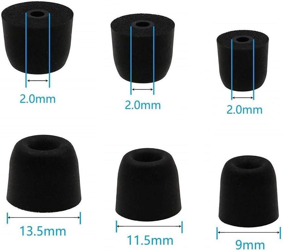 Memory Foam Earbuds Tips for 2mm Earphones Nozzle,Shure SE215 SE315 SE535 SE425 SE846 SE110 SE112/ Etymotic Research ER4XR/ Klipsch in-Ear/Westone Replacement Eartips(3 Pairs,S/M/L)