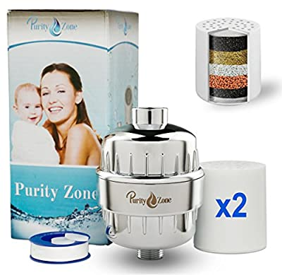 Purity Zone 8 Stage Shower Filter - Universal Water Filtration System - Includes 2 Cartridges - Removes Chlorine, Fluoride and Other Impurities - Enhances Natural Beauty - Safe for Babies