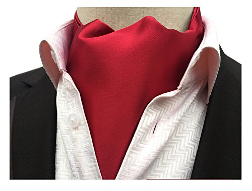 Secdtie Mens Dark Red Silk Cravat Ties Woven Ascot for Tuxedo and Formal Wear 19