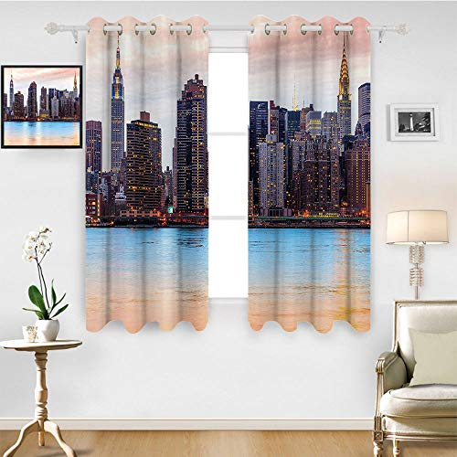 SATVSHOP Blackout Window Curtain- 96W x 108L Inch- Room Darkening Wide Curtains.New York Manhattan Skyline Midtown View from The Lake USA American City Artsy Peach Blue Mauve.]()
