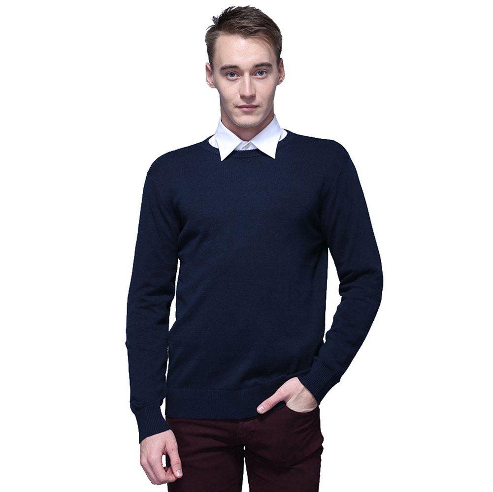 FASHIONMIA Mens Casual Solid Slim Fit Sweater Pullover Dark Blue L
