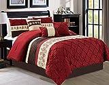 Oversized King Bed in a Bag Set Luxlen 7 Piece Bed in Bag Comforter Set, Cal King, Red