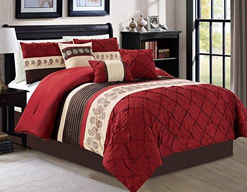 Luxlen 7 Piece Bed in Bag Comforter Set, King, Red
