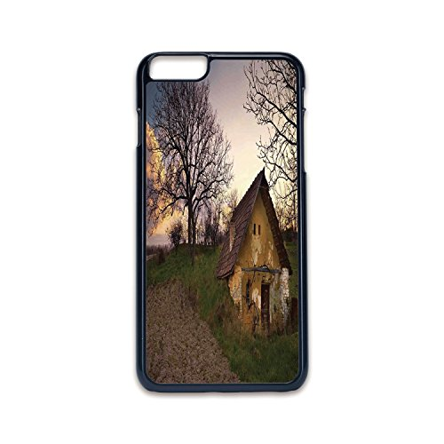 Phone Case Compatible with iPhone6 Plus iPhone6s Plus 2D Print Black Edge,Rustic Home Decor,Battered Stone House in Field Messy Shed Building Provincial Pastoral Concept,Multi,Hard Plastic Phone Case