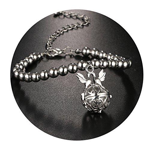 Beydodo Aromatherapy Bracelet Celtic Women Bracelet Gold Plated Hollow Round Peace Sign Doves Silver