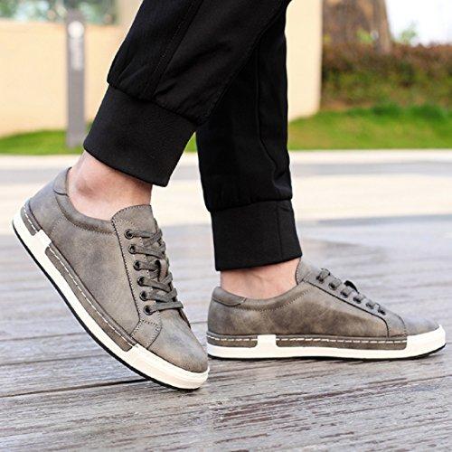Zapatos Planos 46 con Marrón 38 de NEOKER de de Cuero Vestir Cordones Gris de Zapatos Boda Cordones Amarillo Negro Gris Oxfords Hombre Negocios 5wAq14xv