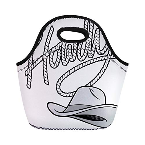 - Semtomn Lunch Tote Bag Brown Rodeo Howdy Cowboy Rope and Hat American Cartoon Reusable Neoprene Insulated Thermal Outdoor Picnic Lunchbox for Men Women