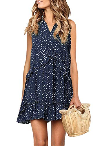 MINTLIMIT Dress for Women Chiffon Summer Polka Dot V Neck Ruffle Casual Beach Navy&White 2XL
