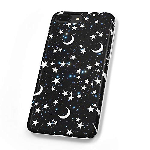 uCOLOR Case Compatible iPhone 8 Plus/7 Plus 6s Plus/6 Plus Black Moon Stars Blue Glitter Soft TPU Silicone Shockproof Cover Compatible iPhone 8 Plus/7 Plus/6S Plus/6 Plus(5.5